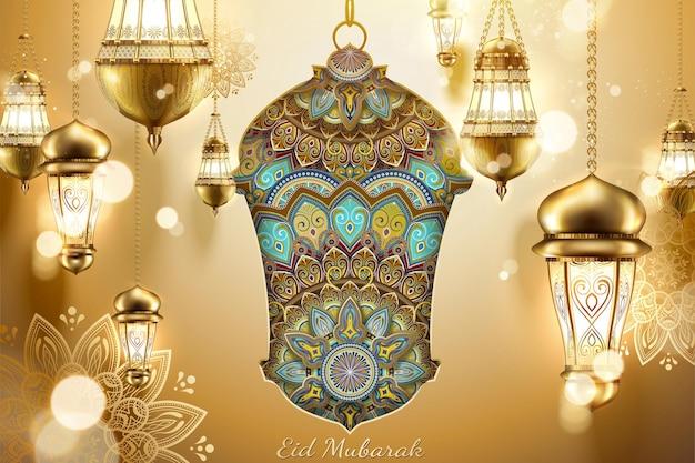 Eid mubarak prachtige hangende fanoos en arabesque patronen