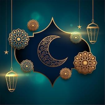 Eid mubarak realistische wenskaart met lantaarn en maan