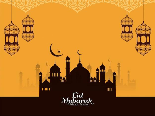 Eid mubarak religieuze islamitische gele achtergrond