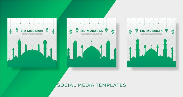 Eid mubarak sjabloon voor spandoek van sociale media