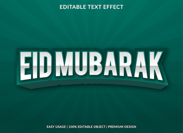 Eid mubarak-teksteffectsjabloon met abstract stijlgebruik voor bedrijfslogo en merk