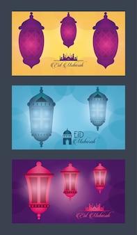 Eid mubarak-vieringskaart met lantaarns die vectorillustratieontwerp hangen
