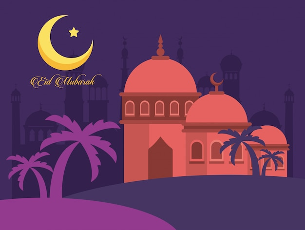 Eid mubarak-vieringskaart met moskee en maan vectorillustratieontwerp