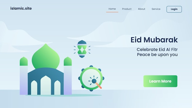 Eid mubarak voor landing van websitesjabloon of startpagina-ontwerp