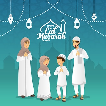 Eid mubarak wenskaart. cartoon moslim familie zegen eid al fitr