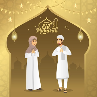 Eid mubarak wenskaart. cartoon moslimpaar zegen eid al fitr