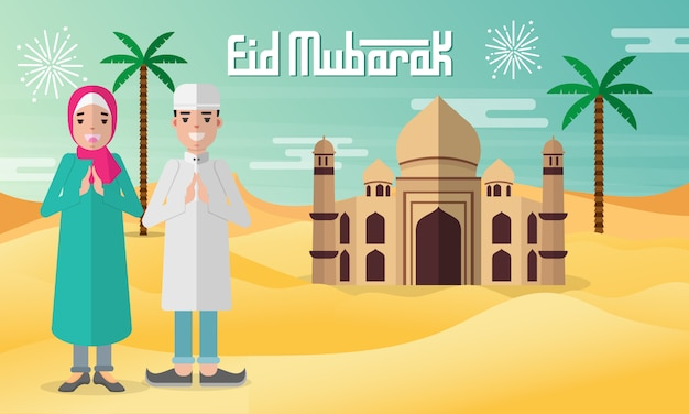 Eid mubarak-wenskaart in vlakke stijlillustratie met het karakter van moslimkinderen met moskee, palmboom en woestijn