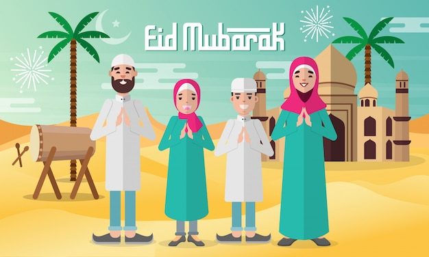 Eid mubarak-wenskaart in vlakke stijlillustratie met moslim familiekarakter met moskee, trommels en palmboom