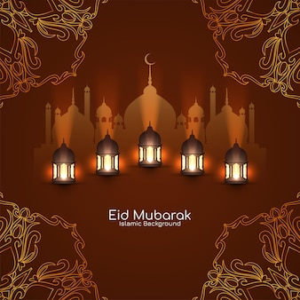 Eid mubarak-wenskaart met moskee en lantaarns