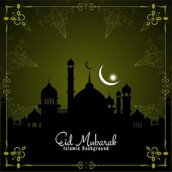 Eid mubarak-wenskaart met moskee en wassende maan