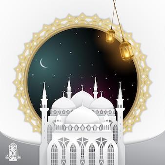 Eid mubarak wenskaartsjabloon 3d moskee lantaarn islamitisch