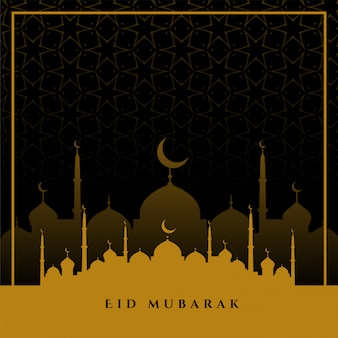 Eid mubarak wenst begroeting in vlakke kleuren