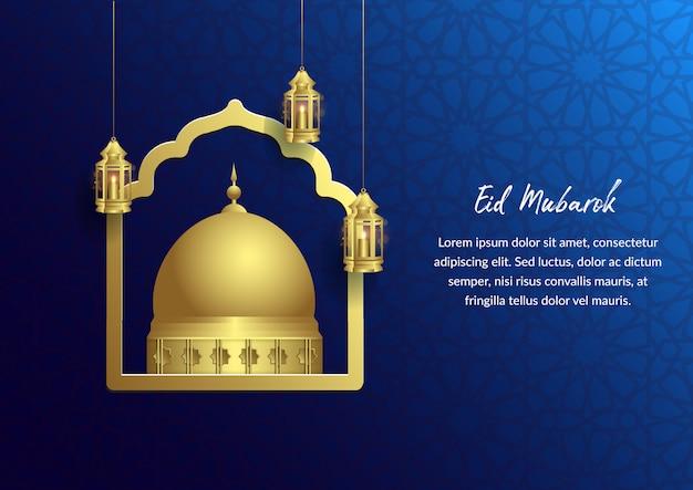 Eid mubarok islamitisch blauw ontwerp