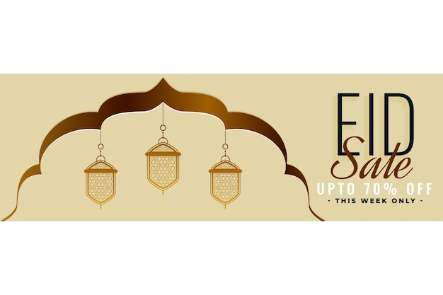 Eid verkoop bannerontwerp met islamitische decoratieve lantaarn