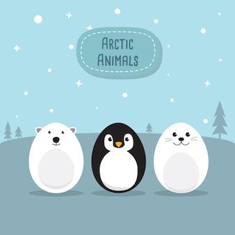 Eier gevormde dieren karakter set voor paasdag, pasen eieren verf. een leuke ijsbeer, pinguïn, baby seal pup, kip, konijnkarakter op hemelblauwe achtergrond vlak ontwerp vectorillustratie.
