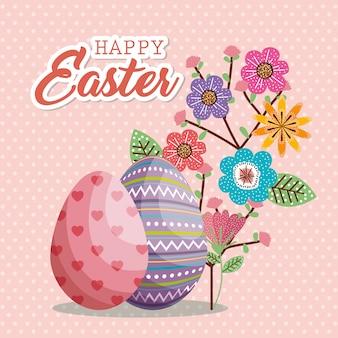 Eieren geschilderd en bloemen gelukkig Paaskaart