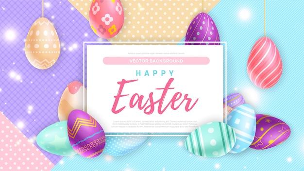 Eieren in de buurt van banner met happy easter schrijven