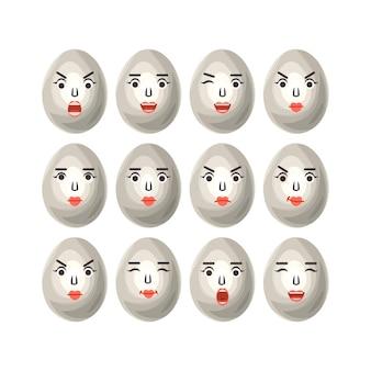 Eieren in een cartoon-stijl met verschillende emoties het beeld van grappige eieren op witte achtergrond