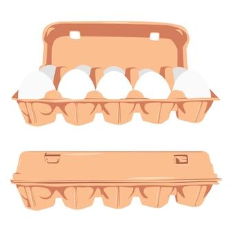 Eieren in kartonnen doos cartoon set geïsoleerd op een witte achtergrond.