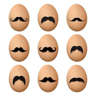 Eieren met snor grote reeks
