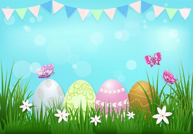 Eieren met vlag en vlinders