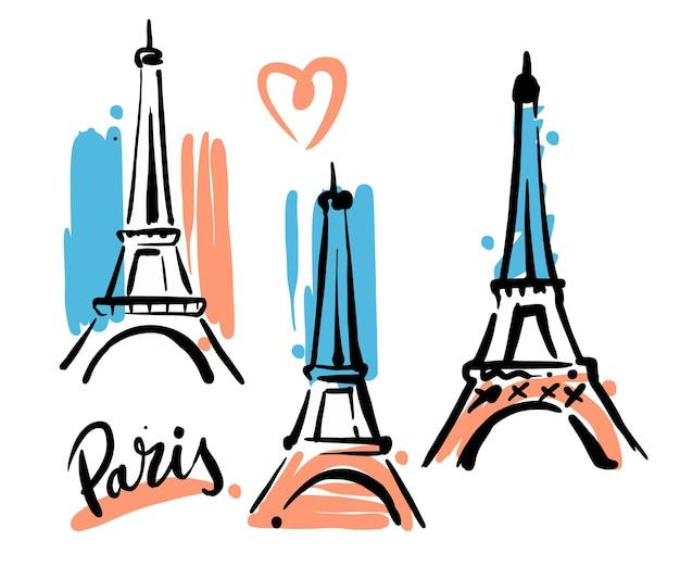 Eiffeltoren hand getrokken schets met vlag.