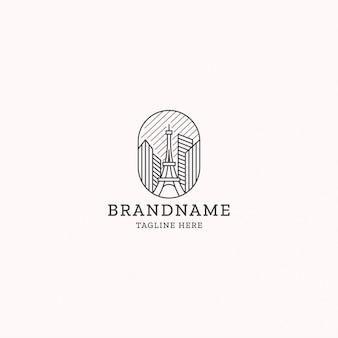 Eiffeltoren lijn kunst logo ontwerpsjabloon