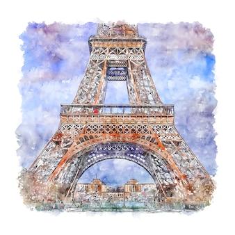 Eiffeltoren parijs frankrijk aquarel schets hand getrokken illustratie