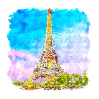 Eiffeltoren parijs frankrijk aquarel schets