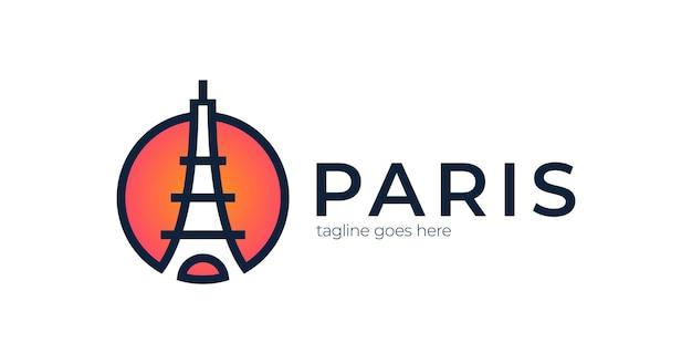 Eiffeltoren pictogram logo Premium Vector