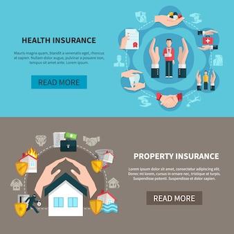 Eigendom verzekering en ziektekostenverzekering banners