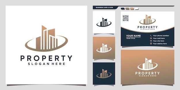 Eigendomslogo bouwen met uniek concept en visitekaartjeontwerp premium vector
