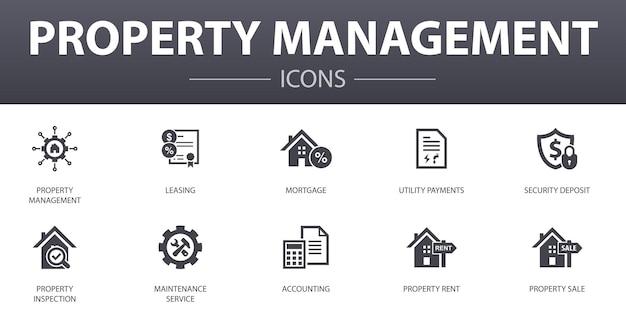 Eigenschap beheer eenvoudig concept pictogrammen instellen. bevat pictogrammen zoals leasing, hypotheek, borg, boekhouding en meer, kan worden gebruikt voor web, logo, ui/ux