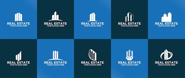 Eigenschap logo sjabloonverzameling premium