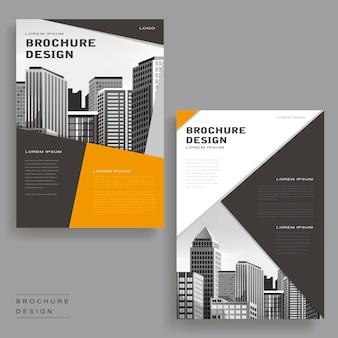 Eigentijds brochuresjabloonontwerp met stadslandschap en geometrische elementen
