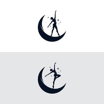 Eigentijds dansend meisjesoverzicht en de maan