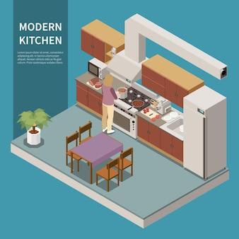 Eigentijds keukenkastenontwerp met meubels met houtaccenten, koken huisvrouw koelkastapparatuur isometrische samenstelling