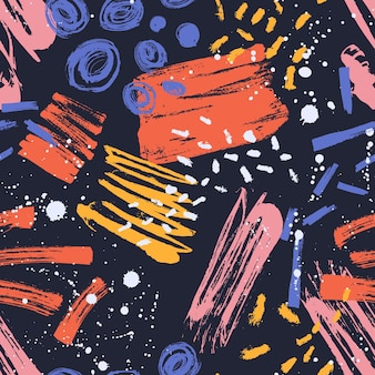 Eigentijds naadloos patroon met kleurrijke verfvlekken, merken, spatten