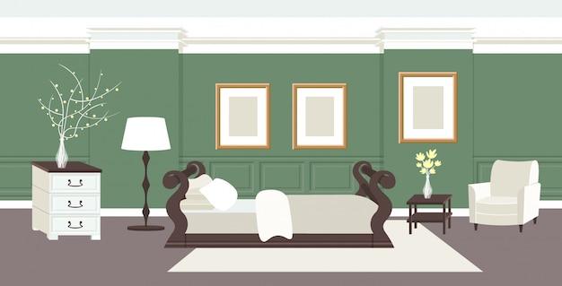 Eigentijds slaapkamer interieur leeg geen mensen thuis modern appartement woonkamer met bed en meubels horizontaal