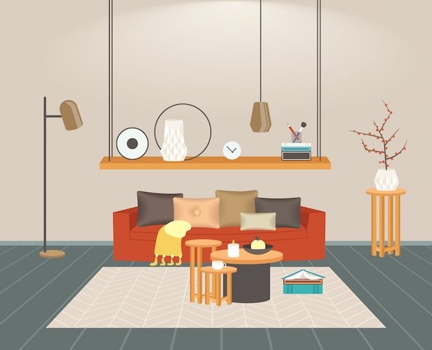Eigentijds woonkamer interieur leeg geen mensen thuis modern appartement horizontaal