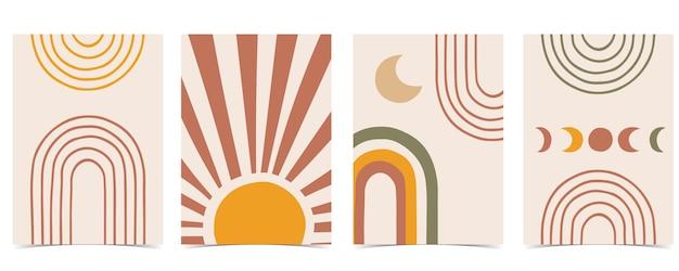 Eigentijdse kaart met regenboog, zon