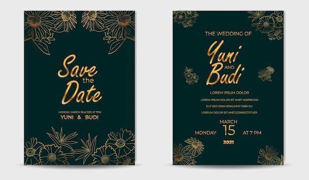 Eigentijdse midden van de eeuw lijn gouden bloem bruiloft uitnodiging sjabloon