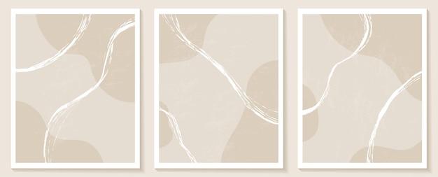 Eigentijdse sjablonen met abstracte vormen en lijnen in nude kleuren.
