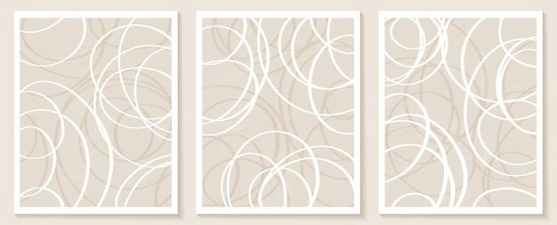 Eigentijdse sjablonen met abstracte vormen en lijnen in nude kleuren