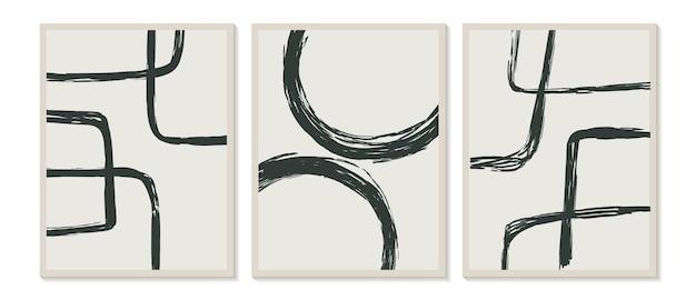 Eigentijdse sjablonen met abstracte vormen, moderne boho-stijl uit het midden van de eeuw
