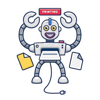 Eigenzinnige grappige printer robot mascotte karakter illustratie