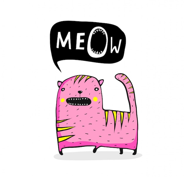 Eigenzinnige miauw cat cartoon