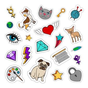 Eigenzinnige mode-patches met dieren, ruit, hart en sleutel. vector stickers collectie