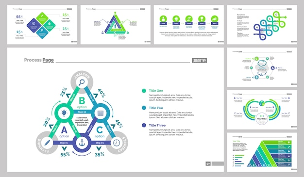 Eight analysis slide templates set