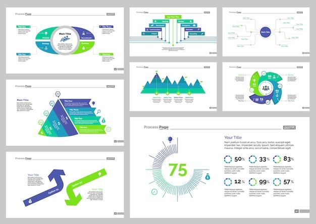 Eight business slide templates set